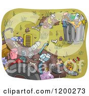 Cartoon Of A Garbage Can And Piles Of Waste Royalty Free Vector Clipart