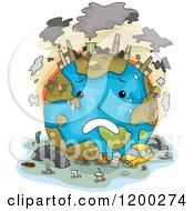 Cartoon Of A Sad Polluted Earth Crying Royalty Free Vector Clipart by BNP Design Studio