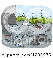 Cartoon Of A Drain Pipe Pouring Industrial Waste Into A Stream Royalty Free Vector Clipart