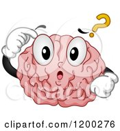 Cartoon Of A Confused Brain Mascot With A Question Mark Royalty Free Vector Clipart by BNP Design Studio