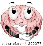 Cartoon Of A Pondering Brain Mascot In Thought Royalty Free Vector Clipart