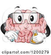 Cartoon Of A Happy Brain Mascot Conducting A Science Experiment Royalty Free Vector Clipart