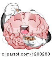 Cartoon Of A Hungry Brain Mascot Eating Peanuts Royalty Free Vector Clipart