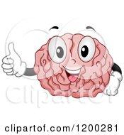 Happy Brain Mascot Holding A Thumb Up