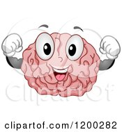 Happy Strong Brain Mascot Flexing