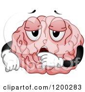 Tired Yawning Brain Mascot