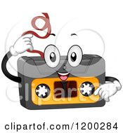Cartoon Of A Happy Cassette Tape Mascot Pulling Out Its Insides Royalty Free Vector Clipart by BNP Design Studio