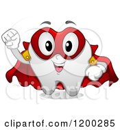Cartoon Of A Happy Super Hero Tooth Mascot Royalty Free Vector Clipart by BNP Design Studio
