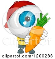 Cartoon Of An Eyeball Mascot Holding A Carrot Royalty Free Vector Clipart by BNP Design Studio