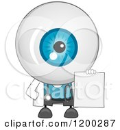 Cartoon Of An Eyeball Doctor Mascot Holding A Blank Sign Or Prescription Royalty Free Vector Clipart by BNP Design Studio