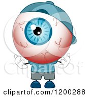 Cartoon Of A Tired Red Eyeball Mascot Wearing A Hat Royalty Free Vector Clipart by BNP Design Studio