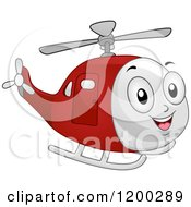 Cartoon Of A Happy Red Helicopter Mascot Flying Royalty Free Vector Clipart