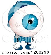 Cartoon Of A Tired Eyeball Mascot Slouching Royalty Free Vector Clipart by BNP Design Studio