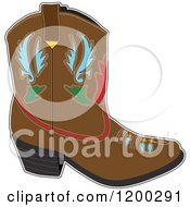 Cartoon Of A Brown Cowboy Boot With Designs Royalty Free Vector Clipart