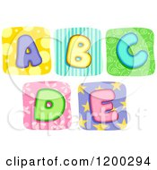 Cartoon Of Colorful Quilt Letters A Through E Royalty Free Vector Clipart