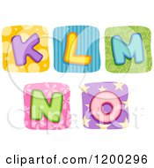 Cartoon Of Colorful Quilt Letters K Through O Royalty Free Vector Clipart