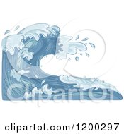 Cartoon Of A Background Of Blue Water And Splashing Waves 4 Royalty Free Vector Clipart