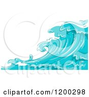 Cartoon Of A Background Of Blue Water And Splashing Waves 5 Royalty Free Vector Clipart