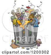 Cartoon Of A Fly Infested Overflowing Trash Can Royalty Free Vector Clipart by BNP Design Studio