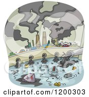 Cartoon Of A Polluted City With Smoke Stacks And Waste Flowing Into Water Royalty Free Vector Clipart
