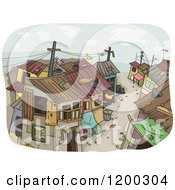 Cartoon Of A Dirty Slum Neighborhood Royalty Free Vector Clipart