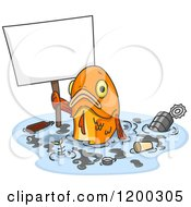 Cartoon Of A Sad Fish Holding A Sign In Polluted Water Royalty Free Vector Clipart