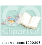 Cartoon Of A Painting Of School Books On Turquoise Royalty Free Vector Clipart