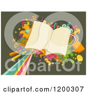 Cartoon Of A Retro Burst And School Books On Green Royalty Free Vector Clipart