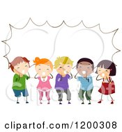 Cartoon Of A Group Of Shouting Diverse Children With A Speech Balloon Royalty Free Vector Clipart