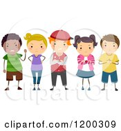 Cartoon Of A Group Of Diverse Bully Children With Mean Expressions Royalty Free Vector Clipart