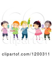 Cartoon Of A Group Of Happy Diverse Children With Bird Pets Royalty Free Vector Clipart by BNP Design Studio