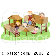 Cartoon Of A Group Of Happy Diverse Children Playing On A Wood Park Playground Royalty Free Vector Clipart