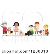 Cartoon Of A Group Of Happy Diverse Children With Pet Dogs Royalty Free Vector Clipart