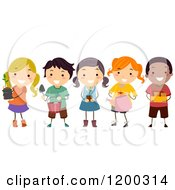 Cartoon Of A Group Of Happy Diverse Children With Gardening Tools And Plants Royalty Free Vector Clipart