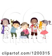 Cartoon Of A Group Of Happy Diverse Children With Pet Cats Royalty Free Vector Clipart