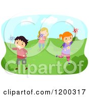 Cartoon Of Happy Children Running With Pinwheels On A Sunny Day Royalty Free Vector Clipart by BNP Design Studio