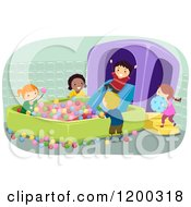 Cartoon Of A Group Of Happy Children Playing In An Inflatable Ball Pit Royalty Free Vector Clipart by BNP Design Studio