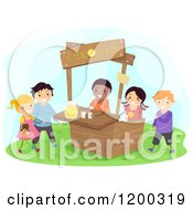 Cartoon Of A Group Of Happy Children Selling Lemonade At A Stand Royalty Free Vector Clipart