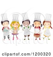 Cartoon Of A Group Of Happy Diverse Chef Kids With Food Royalty Free Vector Clipart