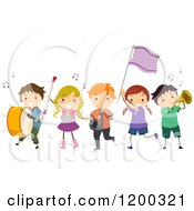 Cartoon Of A Group Of Children Playing In A Marching Band Royalty Free Vector Clipart by BNP Design Studio
