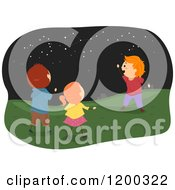 Cartoon Of Happy Caucasian Children Viewing Star Constellations At Night Royalty Free Vector Clipart