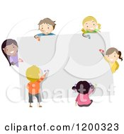 Cartoon Of A Group Of Happy Diverse Children Coloring A Board Royalty Free Vector Clipart