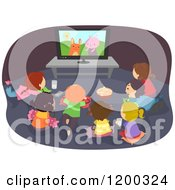 Cartoon Of A Group Of Happy Diverse Children Gathered Around A Tv With A Cartoon On Royalty Free Vector Clipart