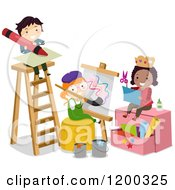 Cartoon Of Arts And Crafts Children By A Ladder Royalty Free Vector Clipart