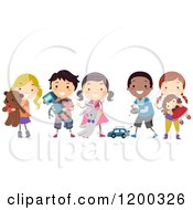 Cartoon Of A Group Of Happy Diverse Children Playing With Toys Royalty Free Vector Clipart