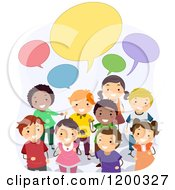 Cartoon Of A Group Of Happy Diverse School Children With Speech Balloons Royalty Free Vector Clipart