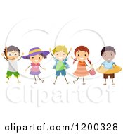 Cartoon Of A Group Of Happy Diverse Children With Summer Accessories Royalty Free Vector Clipart