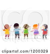 Cartoon Of A Group Of Diverse Children Decorating A Mural Or Board Royalty Free Vector Clipart