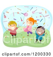Cartoon Of Happy Diverse Children Catching Falling Candy Royalty Free Vector Clipart