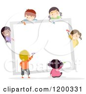 Cartoon Of A Group Of Happy Diverse Children Coloring A White Board Royalty Free Vector Clipart
